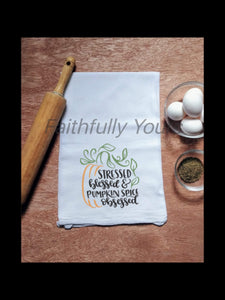 """Pumpkin Spice"" Linen Tea Towels"