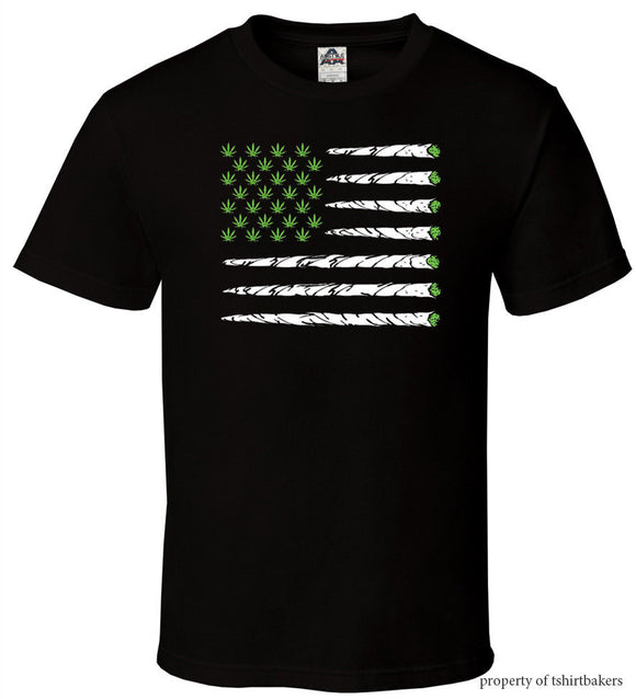 American Weed Flag Black T - Shirt