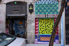 artsy wall in Madrid Spain. photo by Dave Cramske