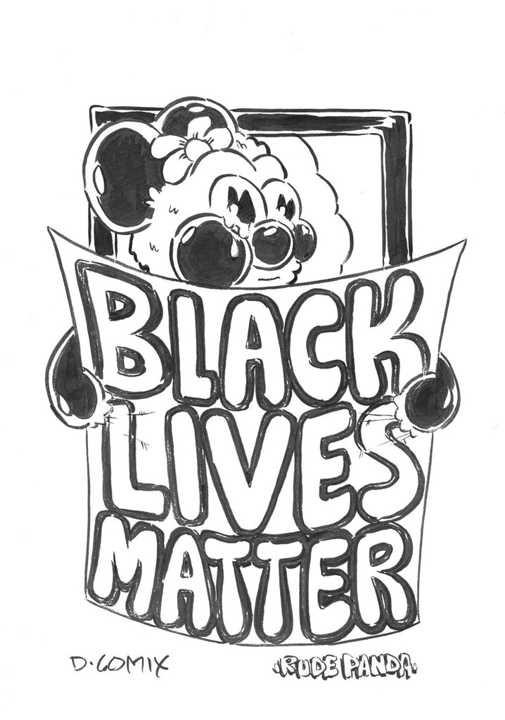 Rude Panda holds up a Black Lives Matter poster