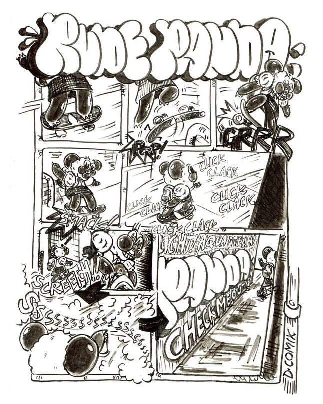 RUDE PANDA throwback Comic. Panda goes skating and does a little bit of artwork in the alley.
