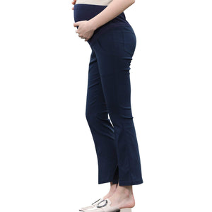 d087fa3730a63 Pregnant Women Work Pants Stretchy Maternity Skinny Ankle Trousers Slim  Women - Navy slit Flare Leg