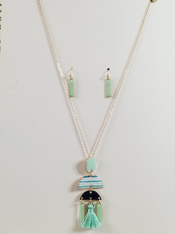 Luna - Mint / Navy Necklace, Earrings Combo