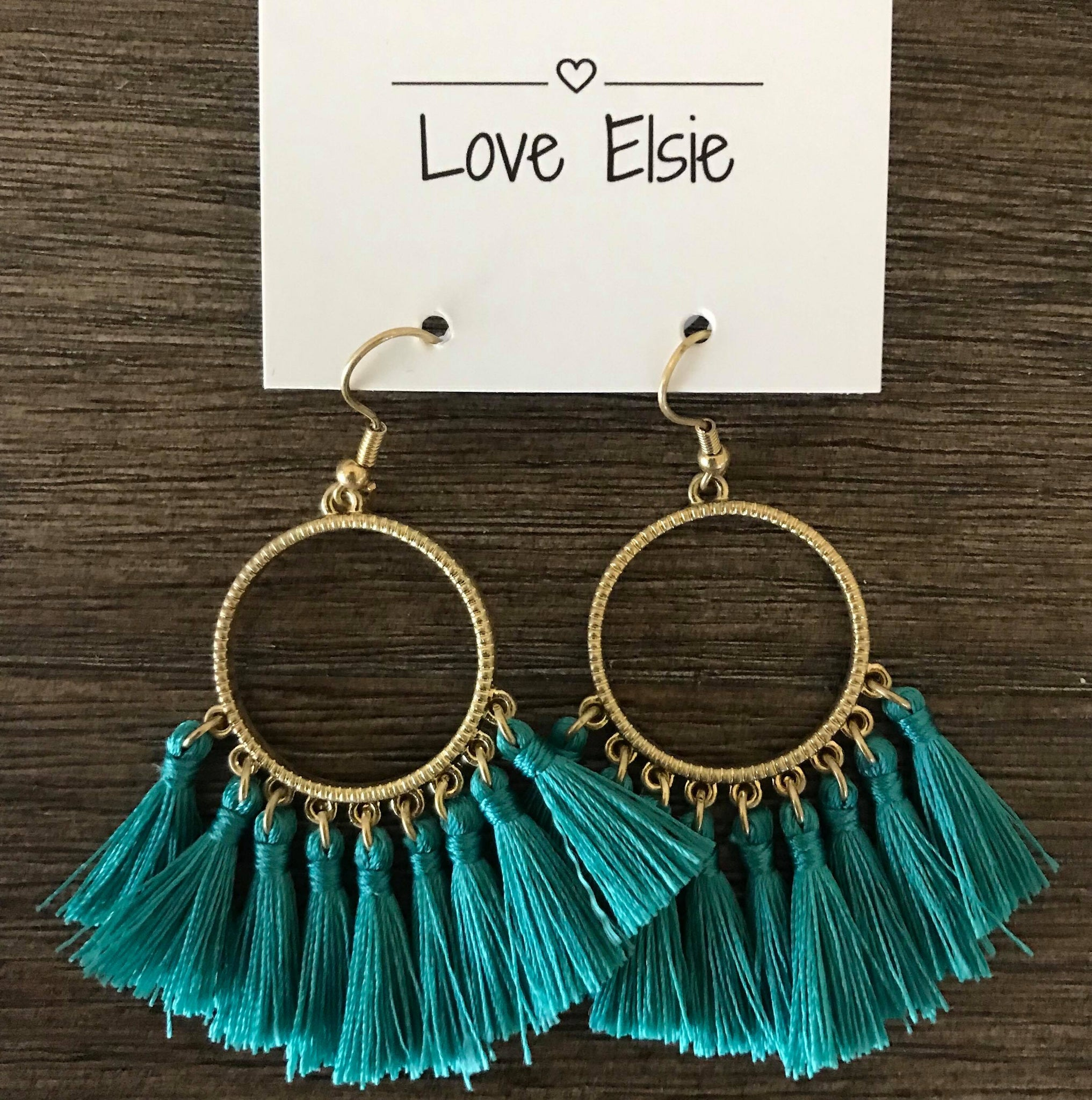 Tia - Teal Tassel Earrings - Small