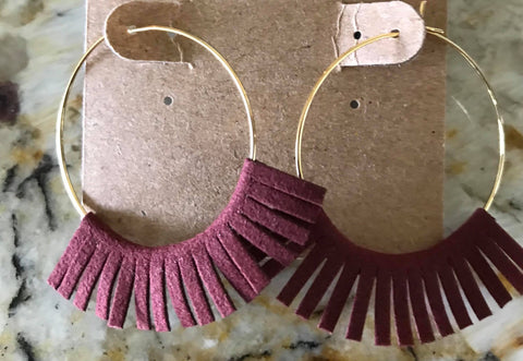 Burgundy Fringe Earrings