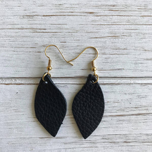 Black Small Leather Earrings