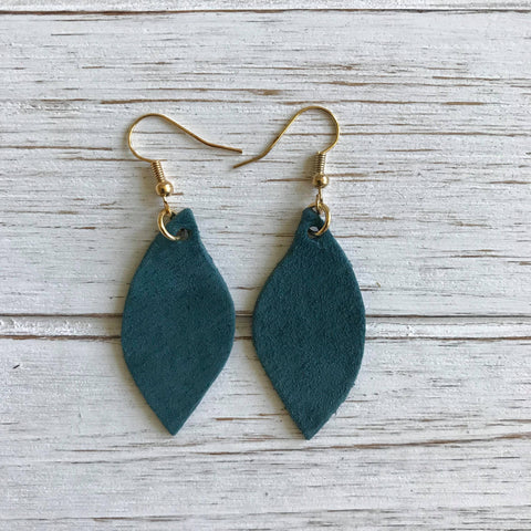 Arctic Blue Small Leather Earrings