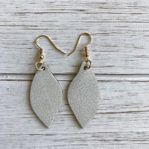 Antique White Small Leather Earrings
