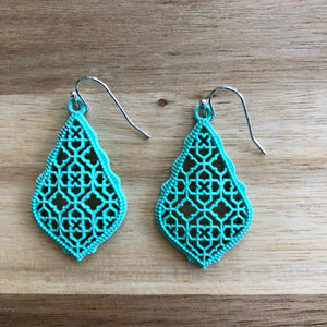 Turquoise Tear Drop Metal Cutout Earrings