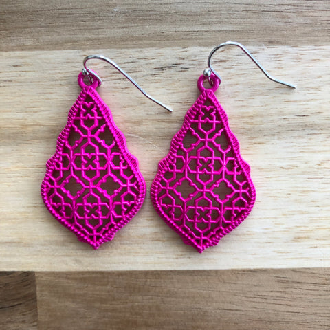 Pink Tear Drop Metal Cutout Earrings