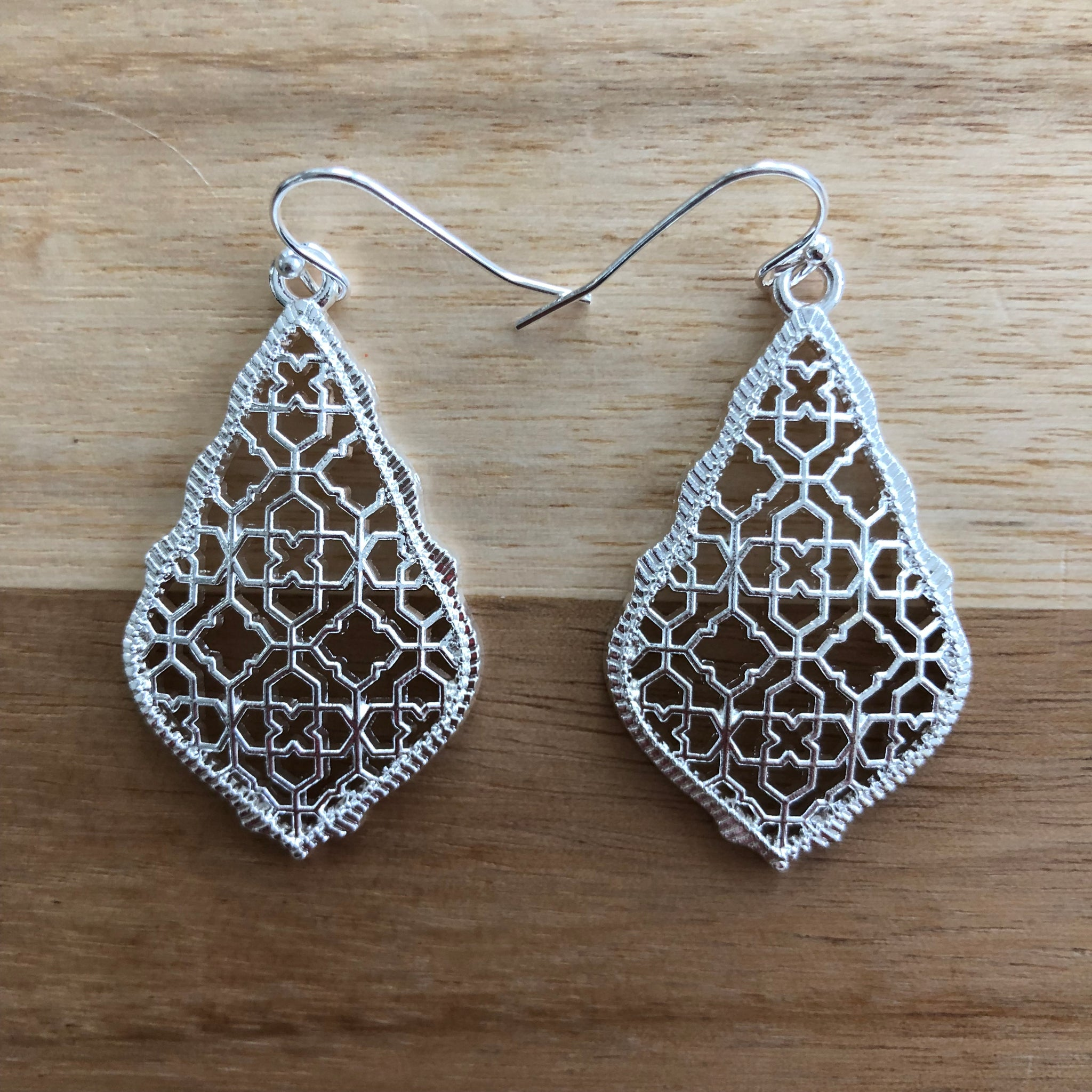 Silver Tear Drop Metal Cutout Earrings