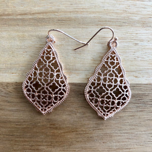Gold Tear Drop Metal Cutout Earrings