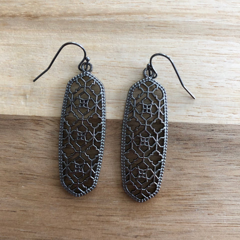 Gun Metal Cutout Earrings