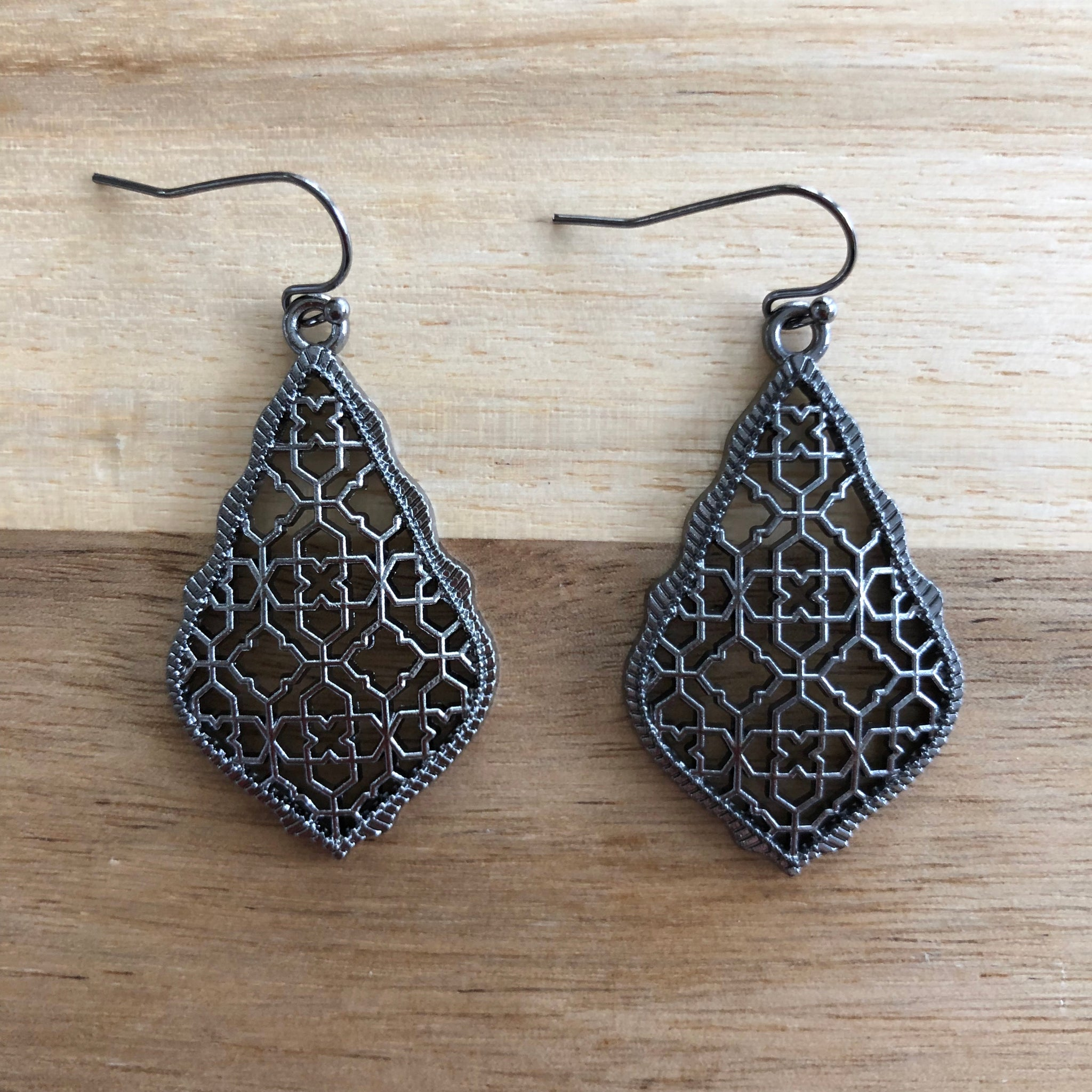 Gun Metal Grey Tear Drop Metal Cutout Earrings
