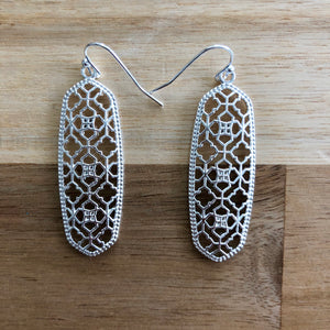 Silver Metal Cutout Earrings
