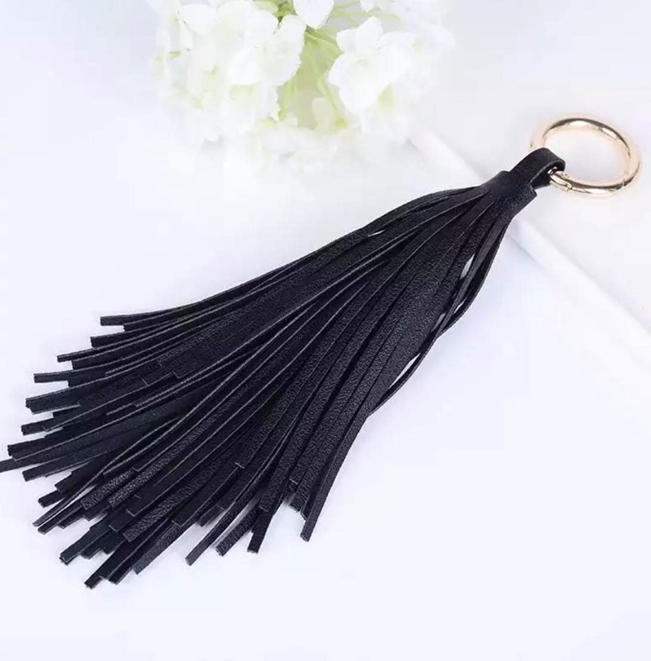 Black Leather Tassel Key Ring