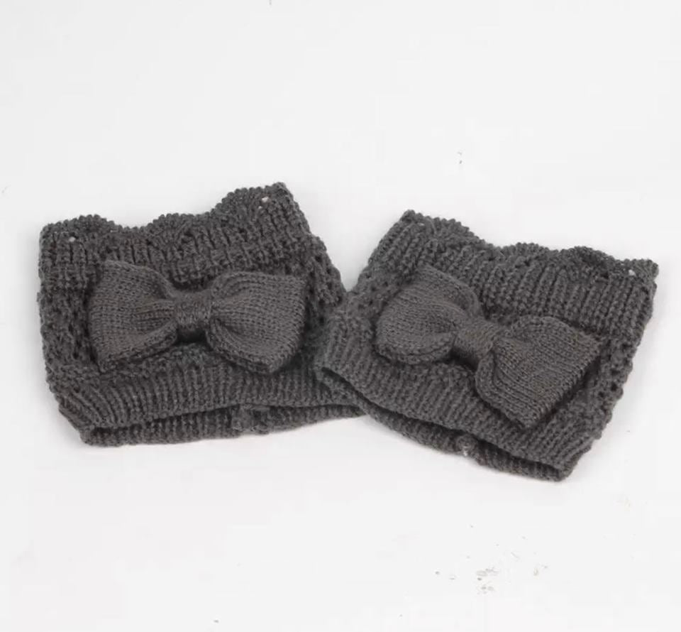 Dark Grey Bow Boot Cuff