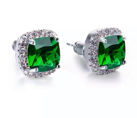 Green Sparkle Studs