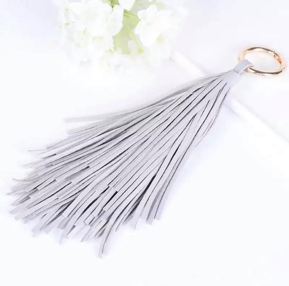 Gray Leather Tassel Key Ring