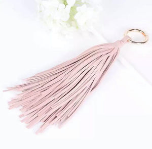 Light Pink Leather Tassel Key Ring