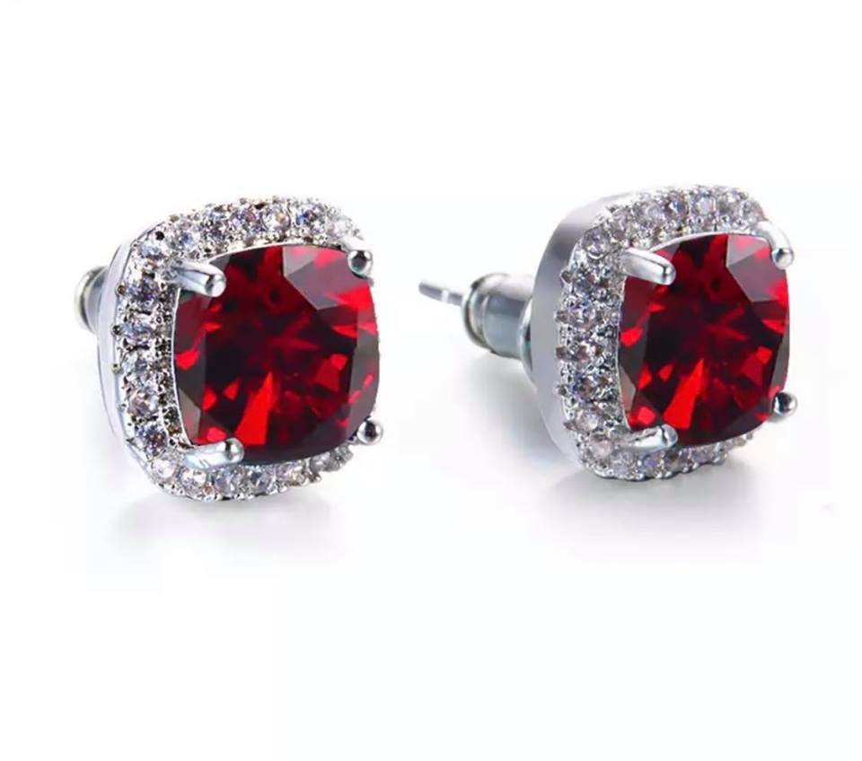 Red Sparkle Studs