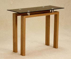 The Adina Range - Solid Wood, Black Glass Top Console Table