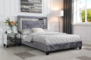 The Augustina Range - Silver Crushed Velvet King size Bed