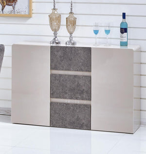 The Belarus Range - Cream and Stone High Gloss Sideboard