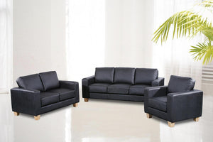 The Chesterfield Range - Black PU Leather Three Seater Sofa