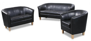 The Claridon Range - Black PU Leather Three Seater Sofa
