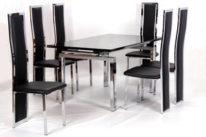 The Highgrove Range - Black, Cream Chrome and Glass Dining Set