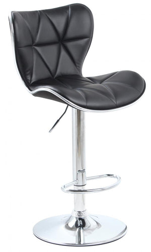 The Harlow Range - Chrome and Black PU Leather Bar Stool