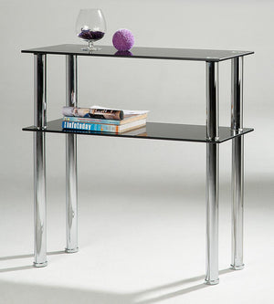 The Hudson Range - Black Glass and Chrome Console Table