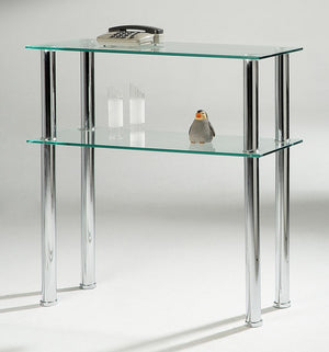 The Hudson Range - Clear Glass and Chrome Console Table