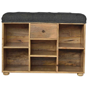 The Artisan Collection - Shoe Storage Bench With Upholstered Black Tweed Seat