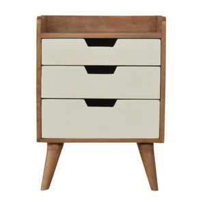 The Artisan Collection - Scandinavian Style Bedside Table with Three White Hand Painted Cutout Drawers