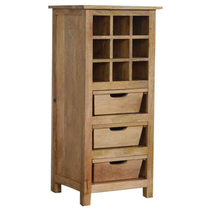 The Artisan Collection - Hand Made 9 Wine Bottle Cabinet with Three Drawers