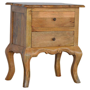 The Artisan Collection - French Design Cabriole Leg Two Drawer Bedside Table