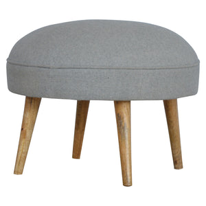 The Artisan Collection - Nordic Style Round Footstool in Grey Tweed