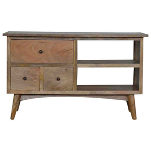 The Artisan Collection - Nordic Style Media Unit with Three Drawers and Two Shelves