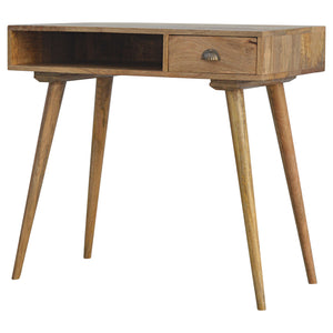 The Artisan Collection - Hand Made Solid Wood Nordic Single Drawer Writing Desk with Open Slot