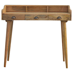 The Artisan Collection - Hand Made Solid Wood Nordic Writing Desk with Three Drawers & Gallery Back
