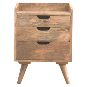 The Artisan Collection - Scandinavian Style Bedside Table with Three Cut Out Drawers