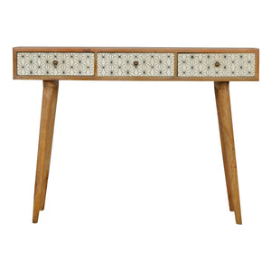The Artisan Collection - Artisan Three Drawer Geometric Screenprinted Writing Desk