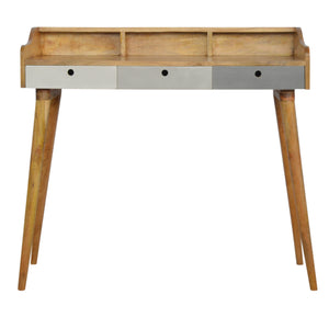 The Artisan Collection - Scandinavian Style Grey Painted Gallery Back Writing Desk with Three Drawers