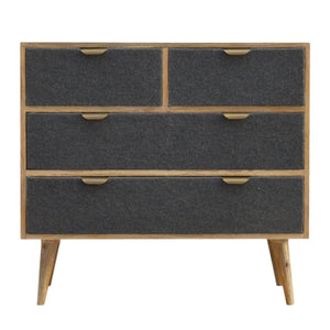 The Artisan Collection - Two Over Two Chest with Grey Tweed Fabric Drawer Fronts