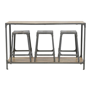 The Artisan Collection - Iron Kitchen Table with 3 Nesting Stools