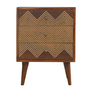 The Artisan Collection - Three Drawer Bedside Table with Brass Inlay Drawer Fronts
