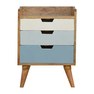 The Artisan Collection - Nordic Bedside Table with multi-coloured Painted Cutout Drawers