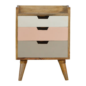 The Artisan Collection - Scandinavian Style Bedside Table with Pink Hand Painted Cut Out Drawers